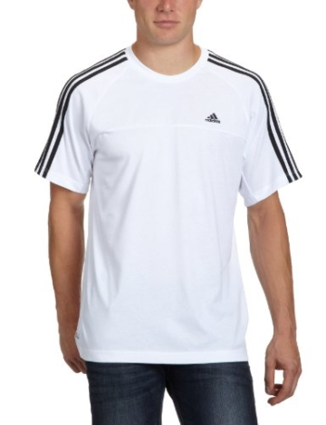 adidas Herren T-Shirt Essentials 3-Stripes Crew, White/Black, S - 1