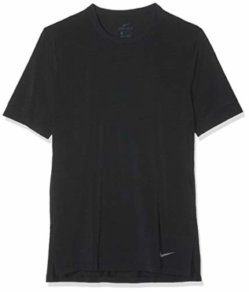 Nike Herren Dri-FIT Kurzarm-Yoga-trainingsoberteil, Black/(Dark Grey), L - 1
